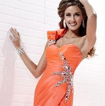 Neon Coral Prom dress at Prom Perfect