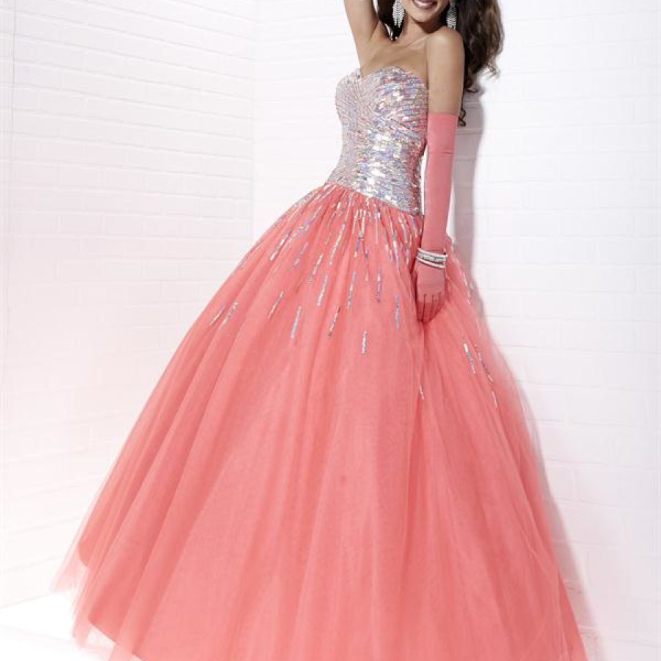 Tiffany Prom Dress style 16888 in colour Coral available now from Prom Perfect