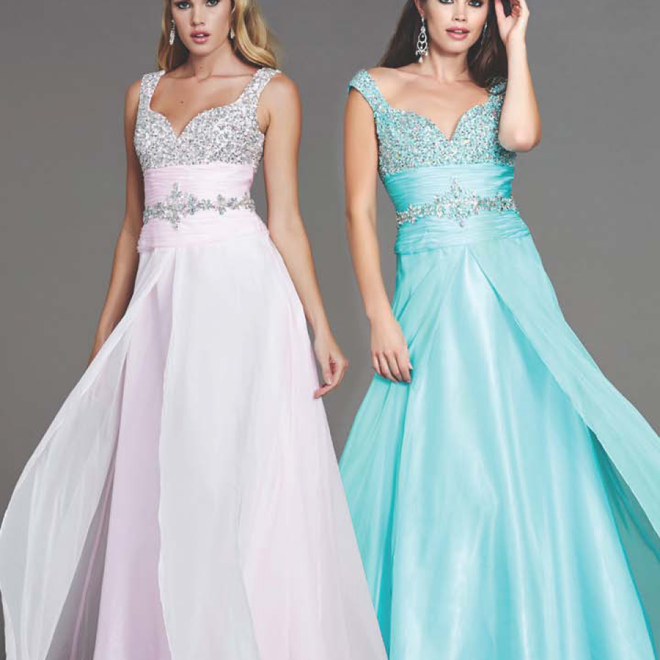 40322L Mac Duggal Style in Aqua and Silver available Now from Prom Perfect