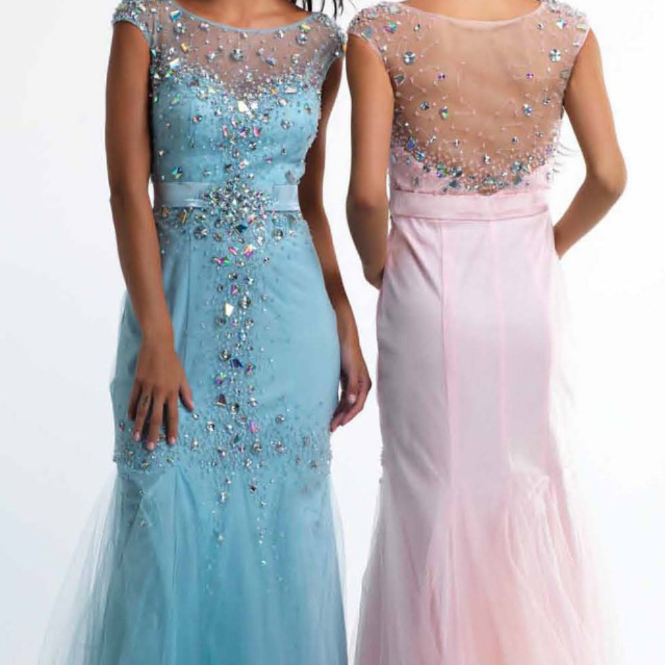 Dave and Johnny of New York Prom Dress Style 8040 in Ice Blue available now from Prom Perfect