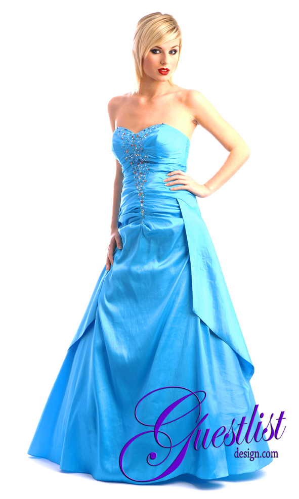 Guestlist Design Prom Dress style Angelina in colour Turquoise Blue available now from Prom Perfect