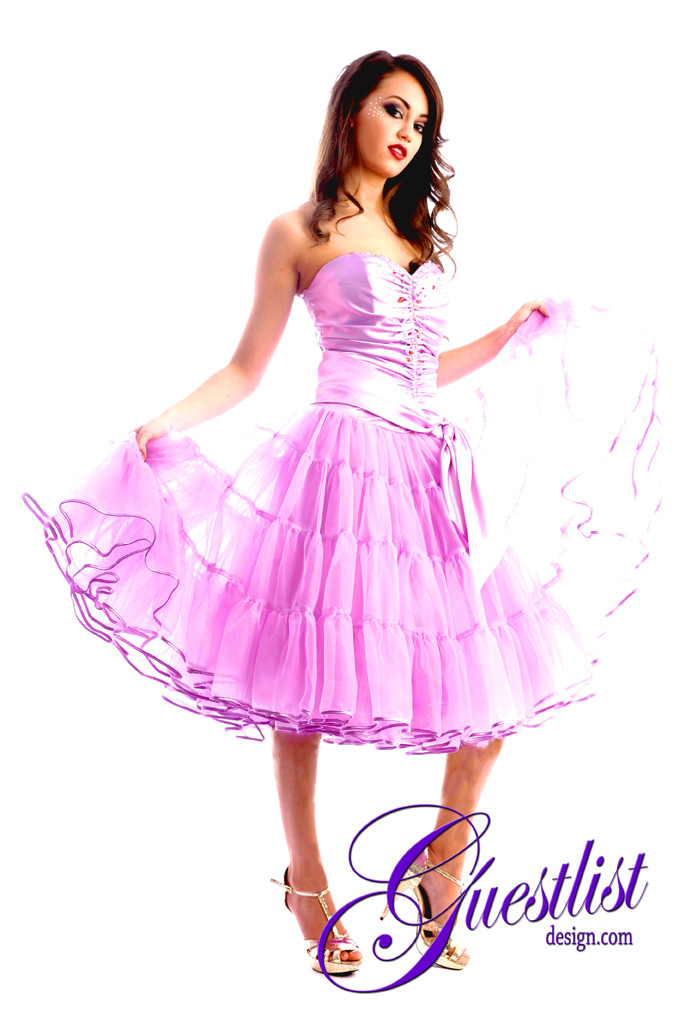 Guestlist Design Prom 50's Kitsch Cocktail Dress style Bobbi in colour Lilac available now from Prom Perfect