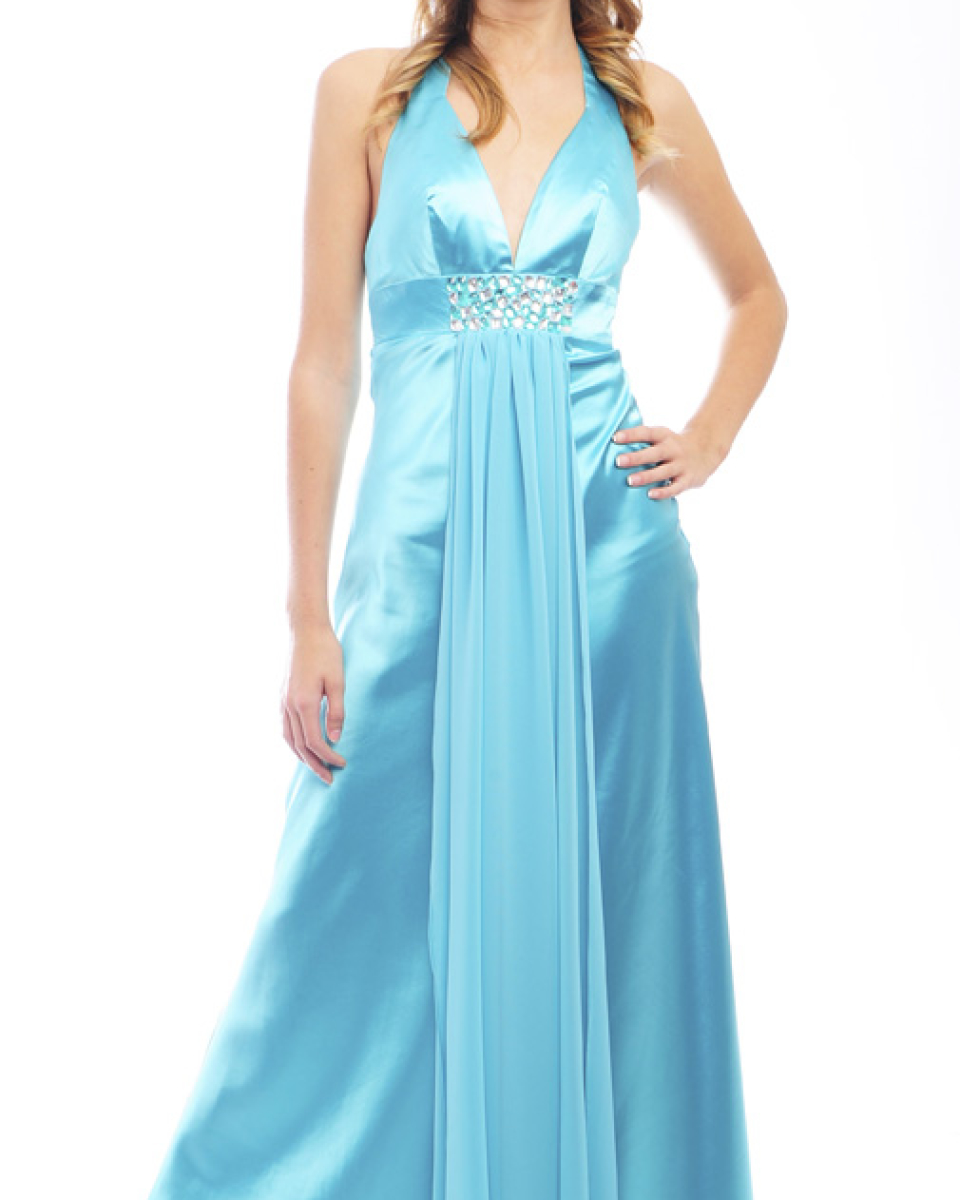 Guestlist Design Halter neck dress style Ellis available from Prom Perfect in colour Menthol