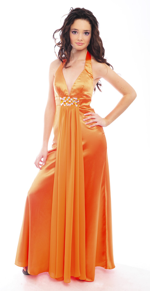 Guestlist Design Halter neck prom dress style Ellis available from Prom Perfect in colour Tangerine