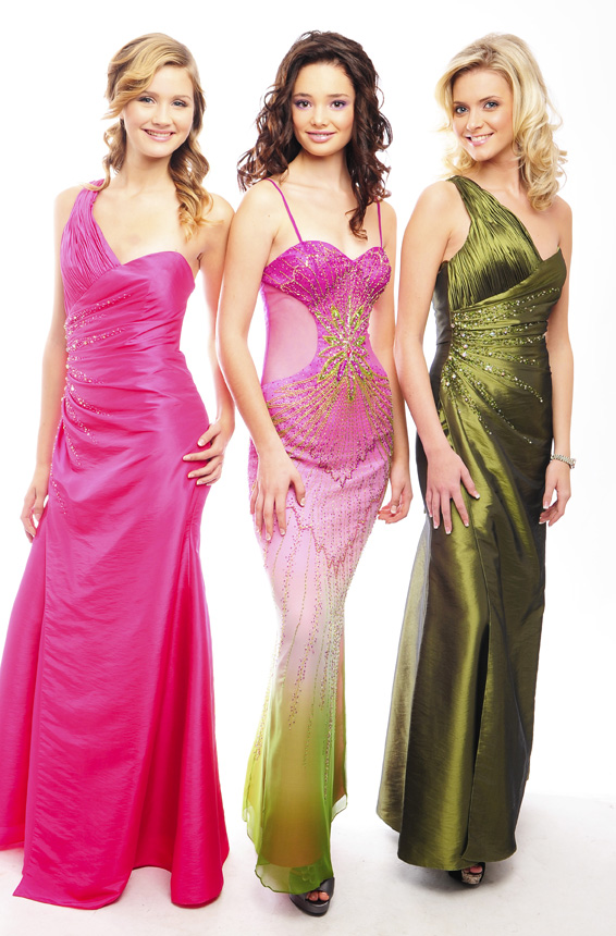 Guestlist Design Prom Gown style Katy available now in Pink and Olive taffeta from Prom Perfect