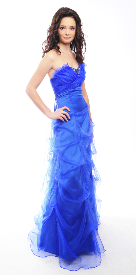 Guestlist Design Prom Dress style Sophia available now in colours Royal blue and Gold from Prom Perfect